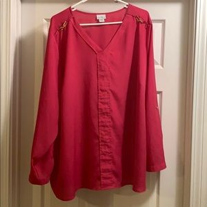 Jaclyn Smith Pink w Gold Accent Sheer Blouse